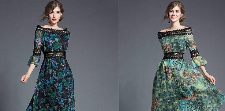 Graceful Boat Neck Printed Lace Patchwork Chiffon Dress