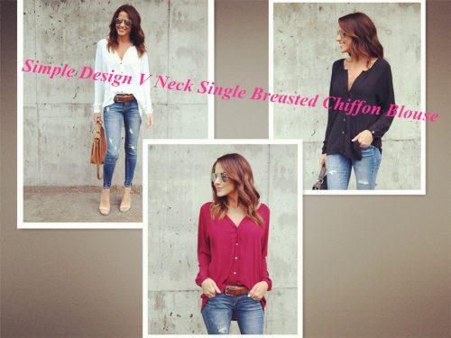 Simple Design V Neck Single Breasted Chiffon Blouse