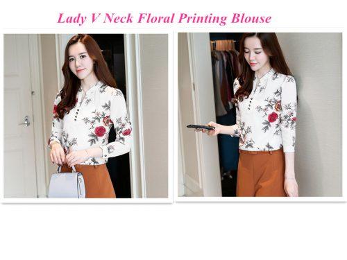 Lady V Neck Floral Printing Blouse