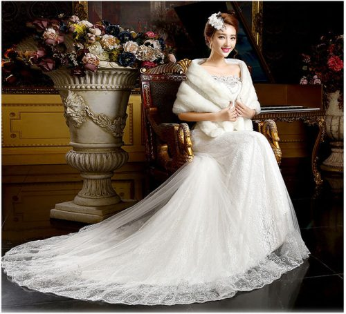 A-line White Lace Rhinestone Chapel Train Bridal Gown