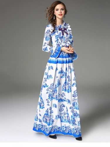 High-end Flower Pleated Maxi Dresses
