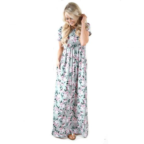 Holiday Floral High Waist Maxi Dresses