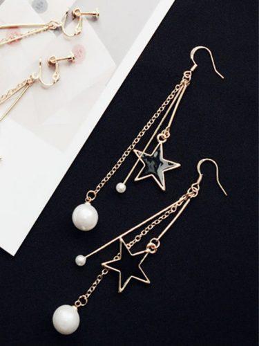Japan Style Star Pearl Pendant Sweet Earrings