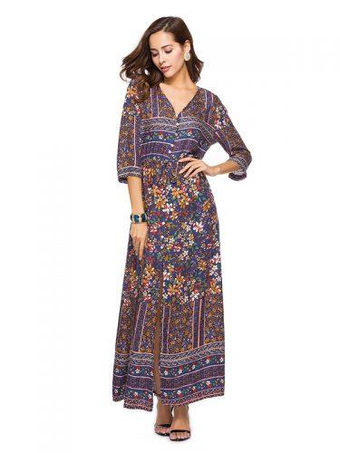 Multicolor Flower Design Retro Maxi Dresses