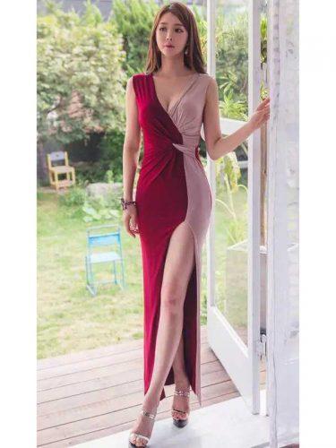 Cheap Contrast Color Deep V Sexy High Slit Dress