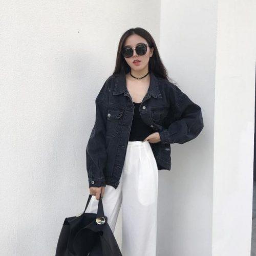Chic Ripped Black Denim Oversize Jacket