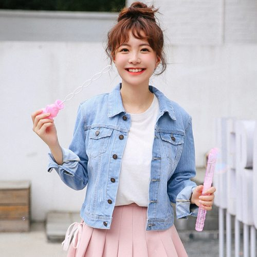Easy Match Button Up Denim Jacket For Women
