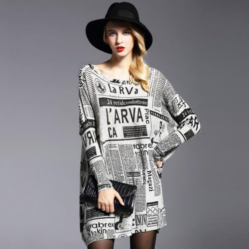 Euro Style Printed Bat Sleeve Loose Knit Blouse