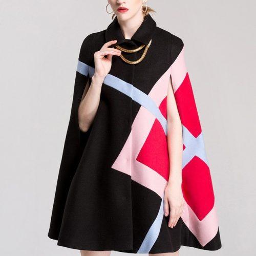 New Arrival Color Match Laple Cloak