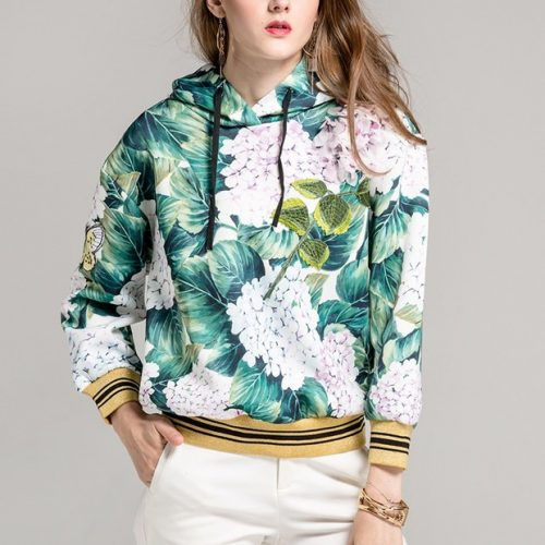 Stylish Flower Printing Sequined Hooded
