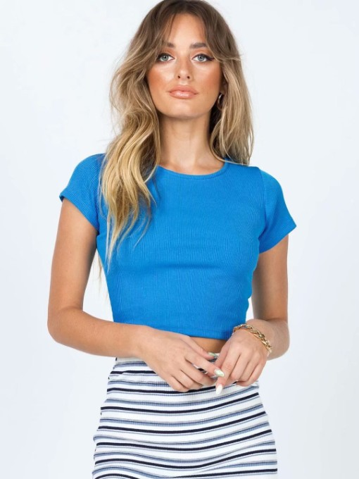 Casual Knitted Solid Cropped T Shirt