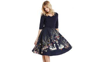 Velvet Floral Design 3/4 Sleeve Retro Dress