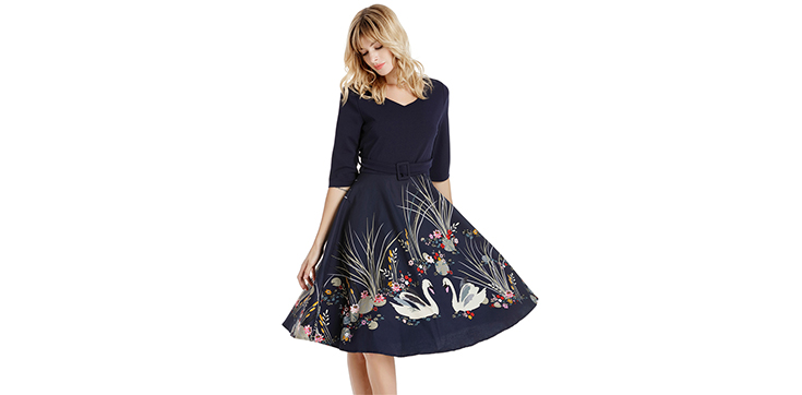 Velvet Floral Design 3/4 Sleeve Retro Dress