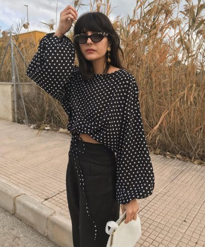 retro polka dots top