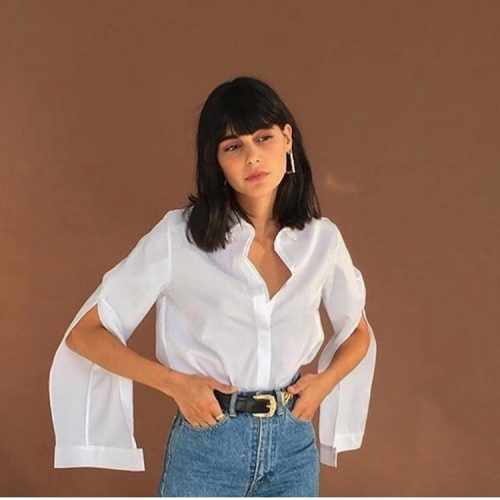 fashion and vintage blouse with black belt