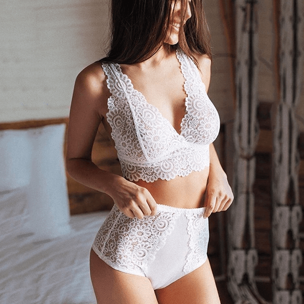 Sexy V-Neck Lace Solid Hollow Out Lingerie