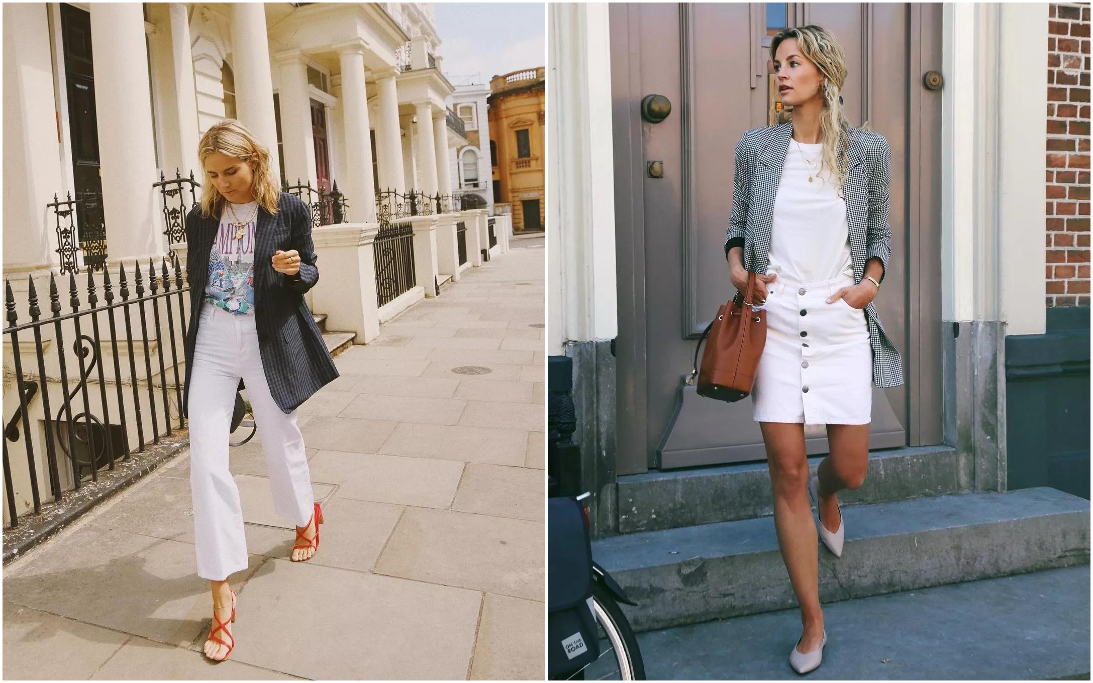 All White Outfits With Plaid Blazers