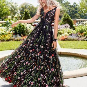 Wjholesale7 Backless Embroidered V Neck Flowy Prom Dresses