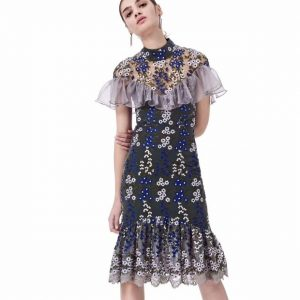 Wholesale7 Graceful Embroidered Flounced Gauze Dress