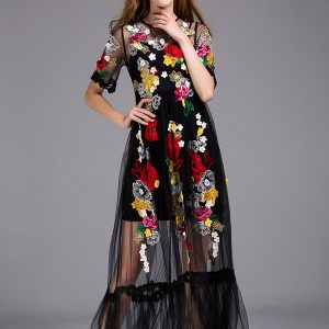 Wholesale7 High-end Floral Embroidered Black Long Dress