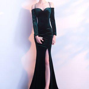 Wholesale7 Noble Slit Off Shoulder Velvet Evening Dress