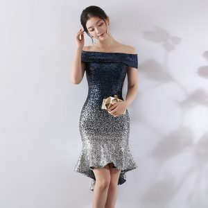 Wholesale7 Off Shoulder Gradient Sequined Bodycon Dresses