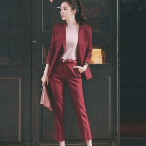 Wholesale7 Office Lady Trim Collar Fitted Long Pant Women Suit