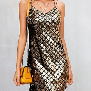 Wholesale7 Rhombus Sequined Strappy Back Club Dress
