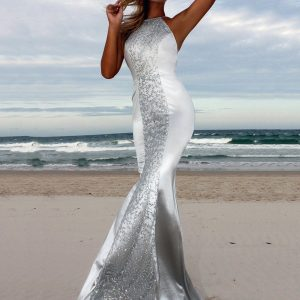 Wholesale7 Sexy Halter Bandage Bodycon Sequined Evening Dresses
