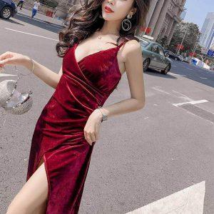 Wholesale7 Sexy Low-Cut Split Hem Sleeveless Evening Dress