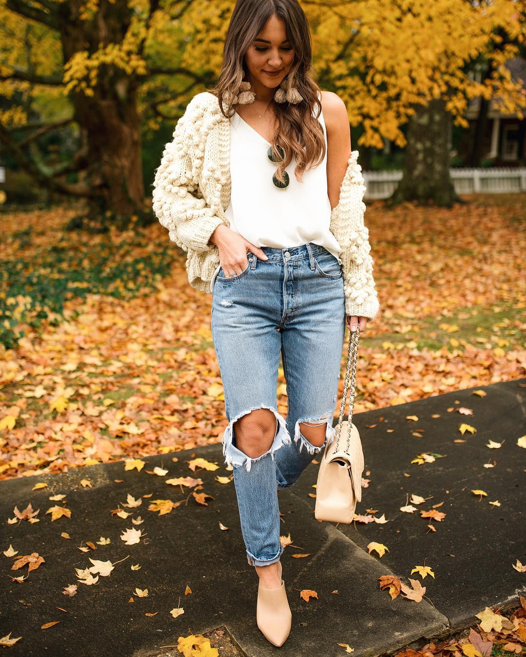 White Cardigan with Jeans