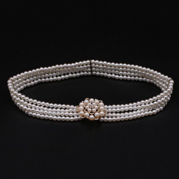 Wholesale7 Easy Matching Fashion Four Rows Of Pearls Belt