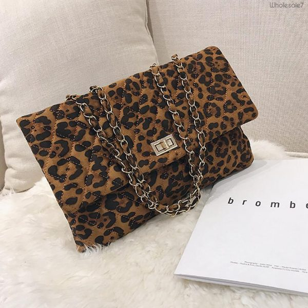 Wholesale7 Leopard Print Twist Lock Chain Leather Bag