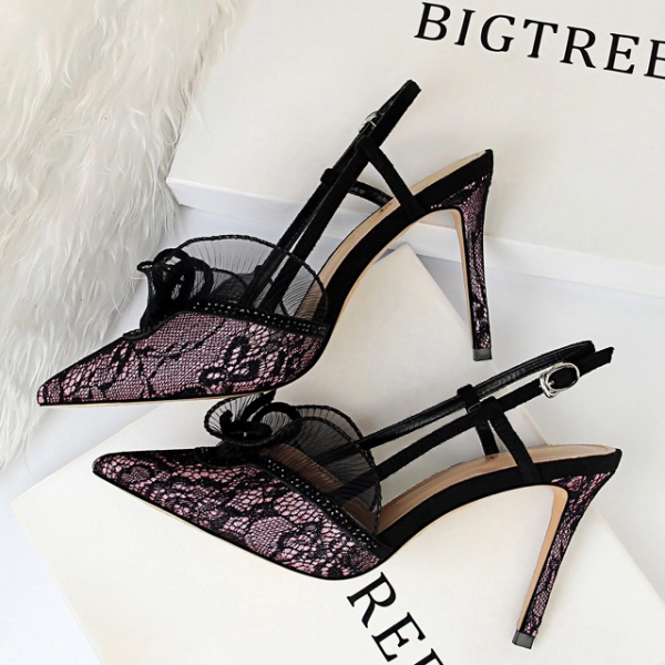 Wholesale7 Sexy Lace Pointed Thin Heel Wholesale Slingbacks
