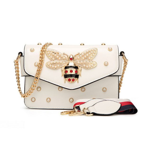 Wholesale7 Stylish Chain Strap Pearl Beading Bee Bag