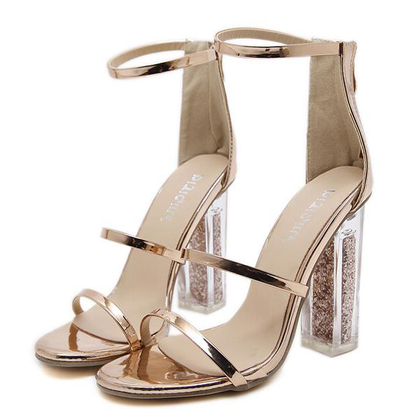 Wholesale7 Trendy Thin Straps Transparent Chunky Sandals