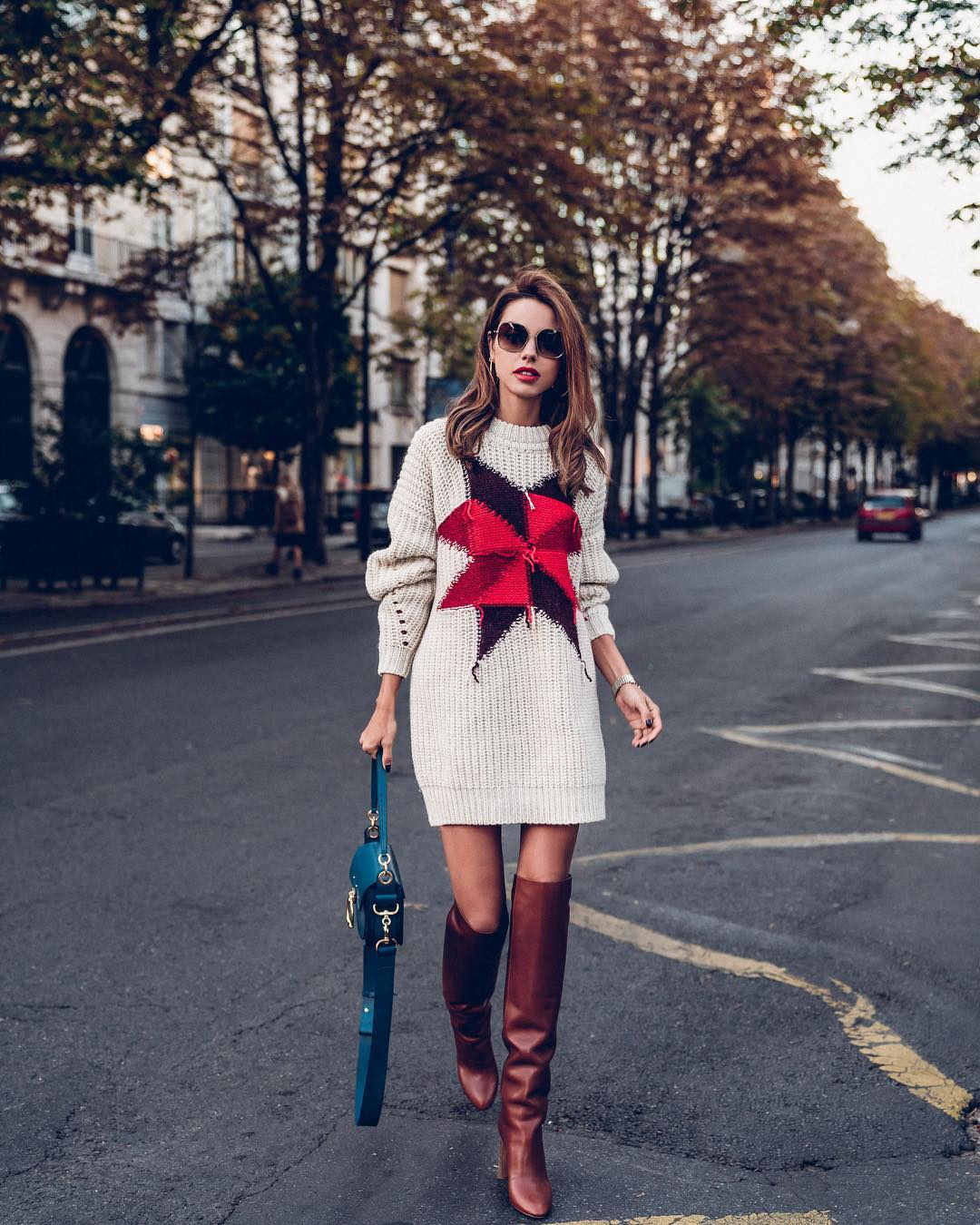 knitting dress with over the knee boots