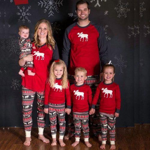 Christmas Deer Printing Family Home Wear Set