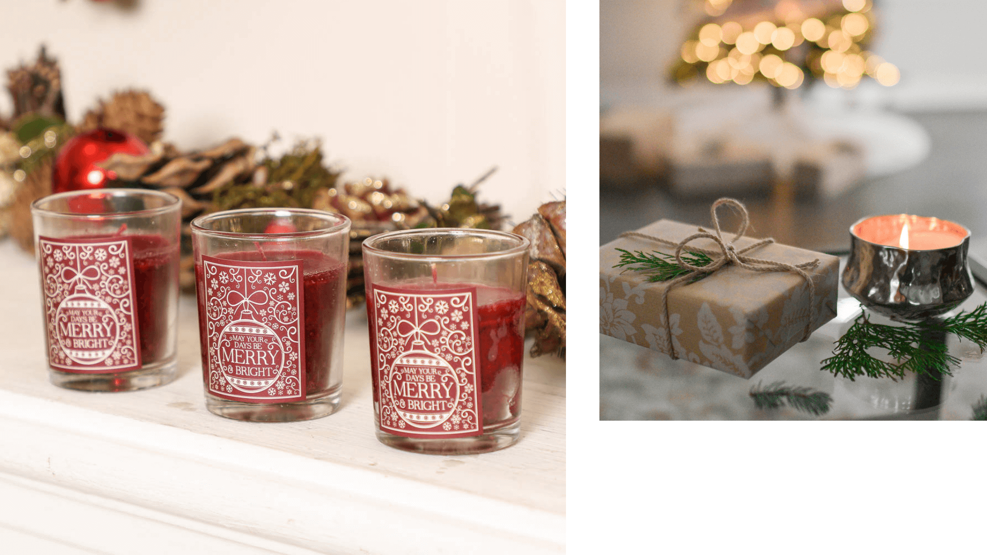 Christmas scented candle decoration