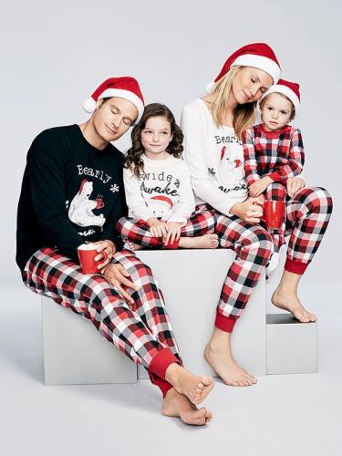 Euro Plaid Christmas Printed Pajamas Family Sets