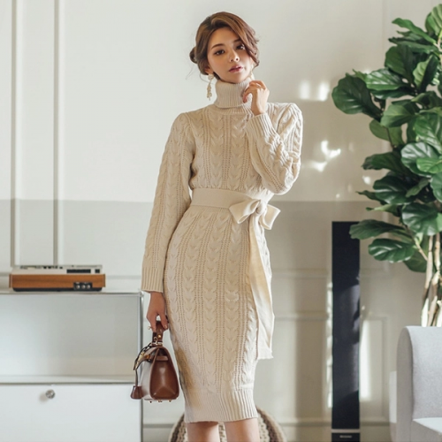 Fashion High Neck Tie-Wrap Knit Long Sleeve Dress