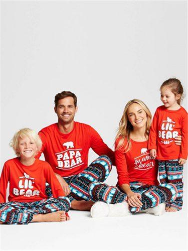 Fashion Letter Bear Printed Crew Neck Family Set