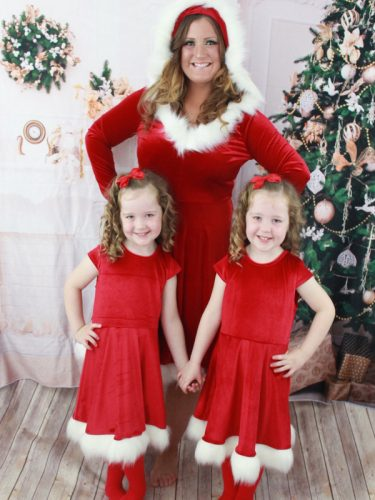 Hot Sale Christmas Fluffy Trim Dress For Female