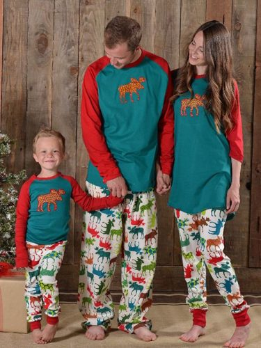 Merry Christmas Elk Printed Color Match Family Sets