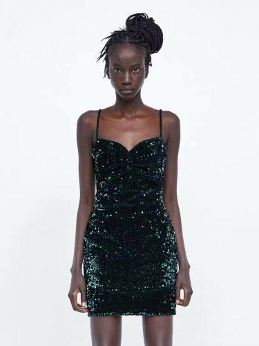 Night Club V Neck Spaghetti Strap Sequin Dress