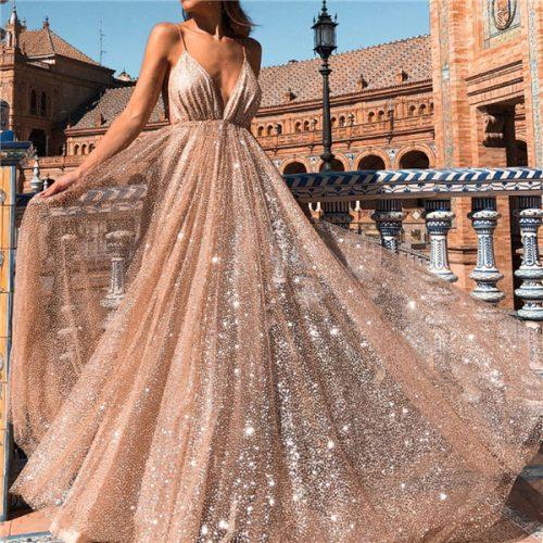 Sexy V Neck Backless Patchwork Floor Length Dress