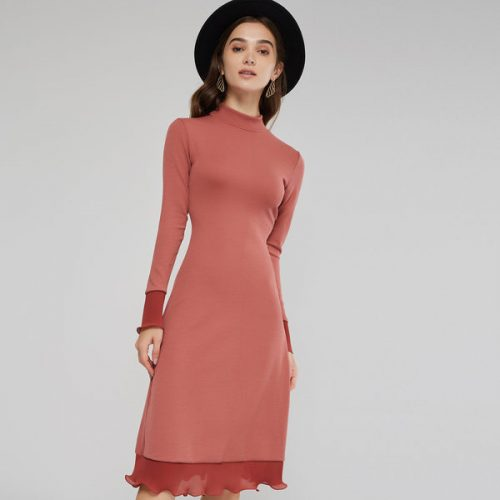Stand Collar Falbala Hem Fitted Knitted Dress