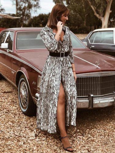 Winter Snake Print Slit Sexy Long Sleeve Dresses