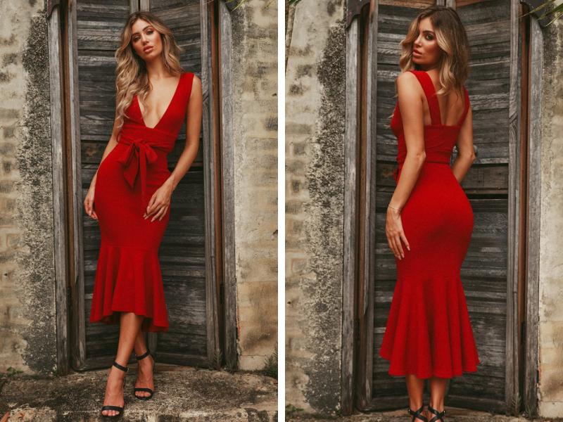 Boutique Deep V Neck Tie-Wrap Simple Evening Dress