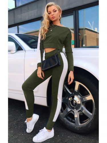 Casual Color Block Crop Top With Long Pants